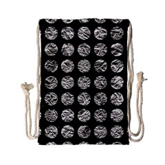 Circles1 Black Marble & Silver Foil (r) Drawstring Bag (small)