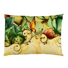 Wonderful Flowers With Butterflies, Colorful Design Pillow Case (two Sides)