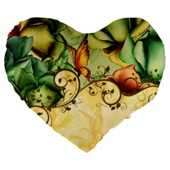Wonderful Flowers With Butterflies, Colorful Design Large 19  Premium Heart Shape Cushions