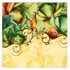 Wonderful Flowers With Butterflies, Colorful Design Large Satin Scarf (square)