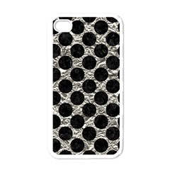 Circles2 Black Marble & Silver Foil Apple Iphone 4 Case (white)