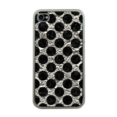 Circles2 Black Marble & Silver Foil Apple Iphone 4 Case (clear)