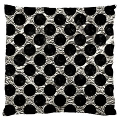 Circles2 Black Marble & Silver Foil Large Cushion Case (two Sides)
