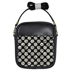 Circles2 Black Marble & Silver Foil (r) Girls Sling Bags