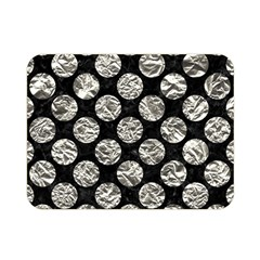 Circles2 Black Marble & Silver Foil (r) Double Sided Flano Blanket (mini)
