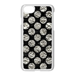 Circles2 Black Marble & Silver Foil (r) Apple Iphone 8 Seamless Case (white)