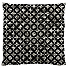 Circles3 Black Marble & Silver Foil Large Cushion Case (one Side)