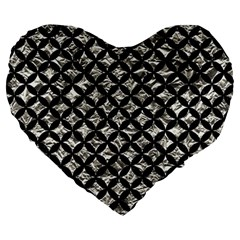Circles3 Black Marble & Silver Foil Large 19  Premium Heart Shape Cushions