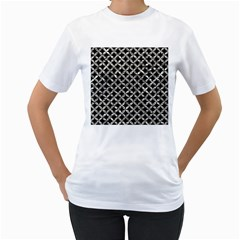Circles3 Black Marble & Silver Foil (r) Women s T Shirt (white) (two Sided)