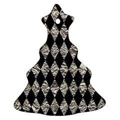 Diamond1 Black Marble & Silver Foil Christmas Tree Ornament (two Sides)
