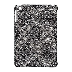 Damask1 Black Marble & Silver Foil Apple Ipad Mini Hardshell Case (compatible With Smart Cover)