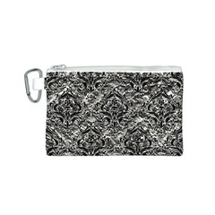 Damask1 Black Marble & Silver Foil Canvas Cosmetic Bag (s)