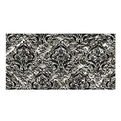 Damask1 Black Marble & Silver Foil Satin Shawl