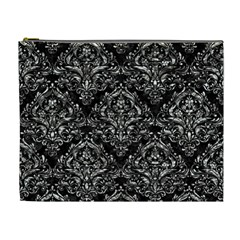 Damask1 Black Marble & Silver Foil (r) Cosmetic Bag (xl)