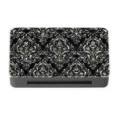 Damask1 Black Marble & Silver Foil (r) Memory Card Reader With Cf