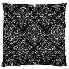 Damask1 Black Marble & Silver Foil (r) Large Cushion Case (two Sides)