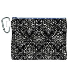 Damask1 Black Marble & Silver Foil (r) Canvas Cosmetic Bag (xl)