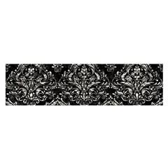 Damask1 Black Marble & Silver Foil (r) Satin Scarf (oblong)