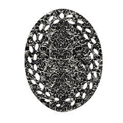 Damask2 Black Marble & Silver Foil Ornament (oval Filigree)