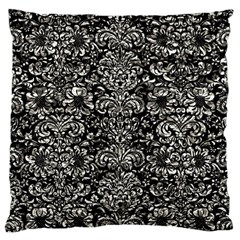 Damask2 Black Marble & Silver Foil (r) Large Cushion Case (one Side)