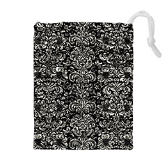 Damask2 Black Marble & Silver Foil (r) Drawstring Pouches (extra Large)