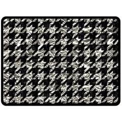 Houndstooth1 Black Marble & Silver Foil Fleece Blanket (large)