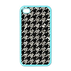 Houndstooth1 Black Marble & Silver Foil Apple Iphone 4 Case (color)