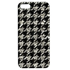Houndstooth1 Black Marble & Silver Foil Apple Iphone 5 Hardshell Case With Stand