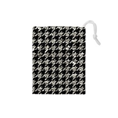 Houndstooth1 Black Marble & Silver Foil Drawstring Pouches (small)