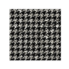 Houndstooth1 Black Marble & Silver Foil Small Satin Scarf (square)