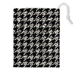Houndstooth1 Black Marble & Silver Foil Drawstring Pouches (xxl)
