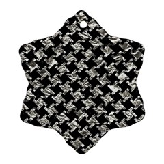 Houndstooth2 Black Marble & Silver Foil Snowflake Ornament (two Sides)