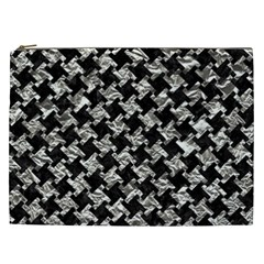 Houndstooth2 Black Marble & Silver Foil Cosmetic Bag (xxl)