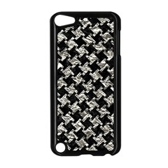 Houndstooth2 Black Marble & Silver Foil Apple Ipod Touch 5 Case (black)