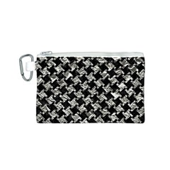 Houndstooth2 Black Marble & Silver Foil Canvas Cosmetic Bag (s)