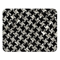 Houndstooth2 Black Marble & Silver Foil Double Sided Flano Blanket (large)