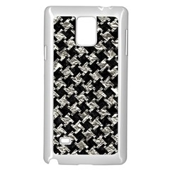 Houndstooth2 Black Marble & Silver Foil Samsung Galaxy Note 4 Case (white)