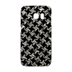 Houndstooth2 Black Marble & Silver Foil Galaxy S6 Edge
