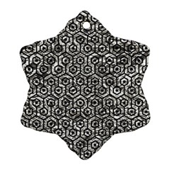 Hexagon1 Black Marble & Silver Foil Snowflake Ornament (two Sides)
