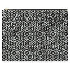 Hexagon1 Black Marble & Silver Foil Cosmetic Bag (xxxl)