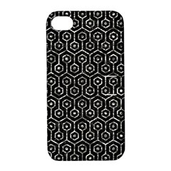 Hexagon1 Black Marble & Silver Foil (r) Apple Iphone 4/4s Hardshell Case With Stand