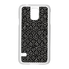 Hexagon1 Black Marble & Silver Foil (r) Samsung Galaxy S5 Case (white)