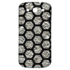 Hexagon2 Black Marble & Silver Foil Samsung Galaxy S3 S Iii Classic Hardshell Back Case