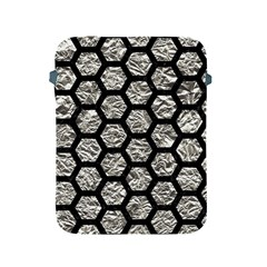 Hexagon2 Black Marble & Silver Foil Apple Ipad 2/3/4 Protective Soft Cases