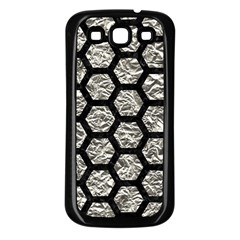 Hexagon2 Black Marble & Silver Foil Samsung Galaxy S3 Back Case (black)
