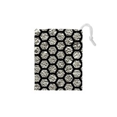 Hexagon2 Black Marble & Silver Foil Drawstring Pouches (xs)