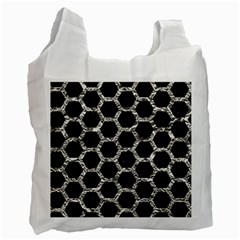 Hexagon2 Black Marble & Silver Foil (r) Recycle Bag (one Side)