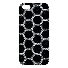 Hexagon2 Black Marble & Silver Foil (r) Apple Iphone 5 Premium Hardshell Case
