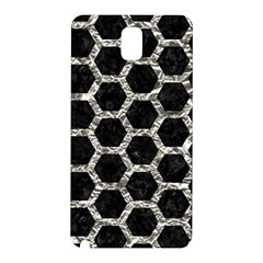 Hexagon2 Black Marble & Silver Foil (r) Samsung Galaxy Note 3 N9005 Hardshell Back Case