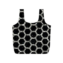 Hexagon2 Black Marble & Silver Foil (r) Full Print Recycle Bags (s)